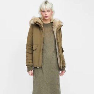 Zara Down Puffer Parka Coat Hooded W Fur Jacket XS